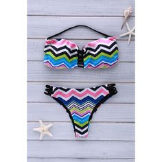 Chevron Stripe Strapless Bikini Set ($99) ❤ liked on Polyvore featuring swimwear, bikinis, chevron bikini, chevron swimwear, bikini swimwear, strapless swimwear and strapless bikini
