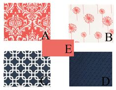 Nursery Theme Ozborne Damask Coral Navy : Just Baby Designs, Baby Bedding Crib Bedding Nursery Bedding