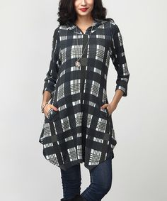 Love this Navy Plaid Hooded Sidetail Tunic by Reborn Collection on #zulily! #zulilyfinds