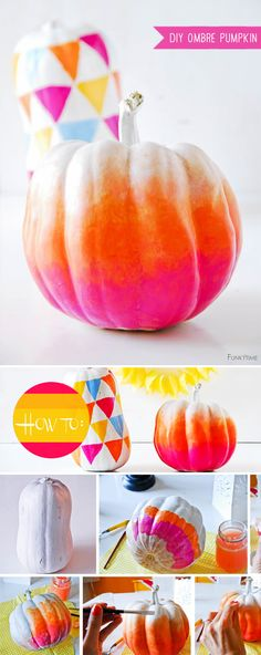 DIY Craft Tutorial: Funky Ombre Pumpkins; by Sibylle @Sibylle Beuke Beuke Roessler #holiday #fall #halloween