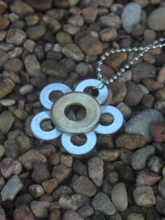 Flower pendant made with washers.