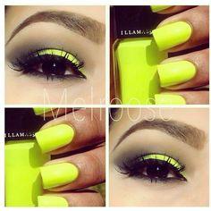 Neon yellow nails eyeshadow Nail Art ❤ liked on Polyvore featuring beauty products, nail care, nail treatments, nails, makeup, eyes and beauty