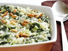 Baked Risotto with Spinach - Bake this risotto featuring rice, Progresso® chicken broth and Green Giant® frozen spinach – a tasty Italian side dish.