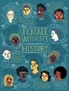 "rachelignotofsky: "" Female Activist Throughout History Poster of the proceeds go to charity These women have fought, organized and protested the inequality they saw around them. This poster celebrates how they helped to create a better future. History Posters, History Quotes, Feminist Af, Feminist Icons, Feminist Quotes, Design Poster, Poster Designs, Flyer Design, Intersectional Feminism"
