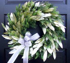Silver Leaf & Evergreen Wreath - Creative Decorations by Ridgewood Designs