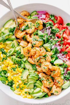 live off this shrimp avocado salad. It's crazy good and loaded with avocado, cucumbers, tomatoes, sweet corn and tossed with a light and easy cilantro-lemon dressing. This shrimp salad has all the best flavors of summer! Shrimp Avocado Salad, Shrimp Salad Recipes, Avocado Salad Recipes, Avocado Salat, Healthy Salad Recipes, Seafood Recipes, Healthy Snacks, Healthy Eating, Cooking Recipes