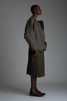 Vintage Issey Miyake Plantation Quilted Jacket, Hishimuma Yoshiki Blouse and Yohji Yamamoto Pleated Skirt. Designer Clothing Dark Minimal Street Style Fashion