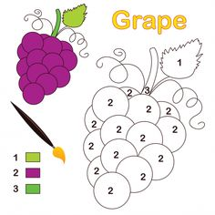 A Grape along with a grape leaf stands ready to color in this simple color by number activity. The page features a