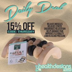 Daily Deal: 15% off Earth Therapeutics Reflex Foot Massage code: THURSDAY #healthdesigns #massage #foot #feet #spa #health #beauty #healthy #bath
