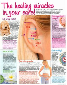 Healing Ears!  Helpful pressure points in your ears that will get you faster and better sleep, calmer, get rid of the munchies, ease cramps and help you quit smoking!  Who knew you could do so much just by pressing your ear for a few minutes?!