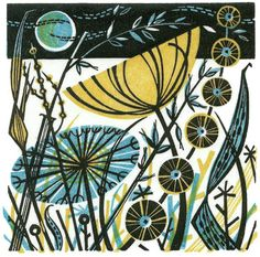 """Agapanthus"", by Angie Lewin Angie Lewin does wonderful and inspiring printed work in linocut, wood engraving and collage. She lives in North Norfolk, and her work is shown in many gall…"