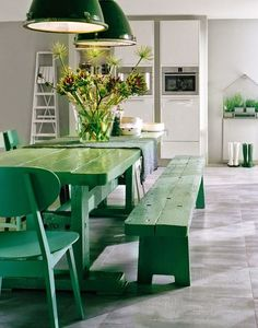 What if you want that laid-back picnic feel all year round? Place an indoor picnic table in your kitchen or dining area indoors! Decor, Green Dining Room, Colorful Interiors, Interior, Green Rooms, Home Decor, Green Kitchen, Farmhouse Table, Green Table