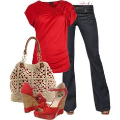 For Me: LOVE this red outfit but, the no bootlegged jeans. The heels I love but are too high for my comfort to walk in. Mode Outfits, Jean Outfits, Casual Outfits, Summer Outfits, Fashion Outfits, Womens Fashion, Red Outfits For Women, Traje Casual, Moda Casual