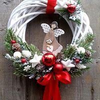 Christmas Advent Wreath, Christmas Gift Decorations, Xmas Wreaths, Christmas Time, Christmas Crafts, Christmas Paintings, Outdoor Christmas, Handmade Christmas, Fall Ribbon Wreath