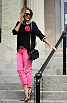 preppy pink jeans and leopard heels