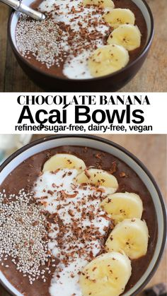 Chocolate Banana Açaí Bowls with coconut milk and cinnamon - a thick nutrient-dense smoothie bowl with anti-inflammatory properties to boost your immune system! A delicious superfood vegan breakfast recipe! #vegan #breakfast #recipe #paleo #healthy #immunity