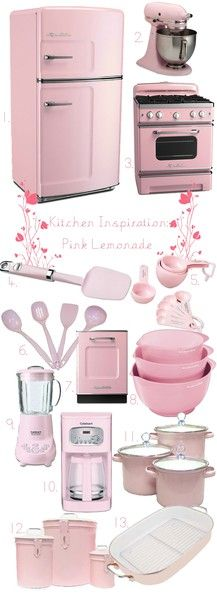 all things pink and retro! I think I want a completely modern kitchen with retro appliances! Pink Love, Pretty In Pink, Cocina Shabby Chic, Tout Rose, I Believe In Pink, Pink Houses, Everything Pink, Vintage Kitchen, Pink Kitchen Decor