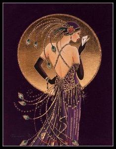 Ideas Art Deco Woman Illustration Alphonse Mucha For 2019 Estilo Art Deco, Arte Art Deco, Art Deco Artists, Art Deco Artwork, Art Deco Paintings, Art Deco Posters, Painting Art, Art Deco Illustration, Illustrations