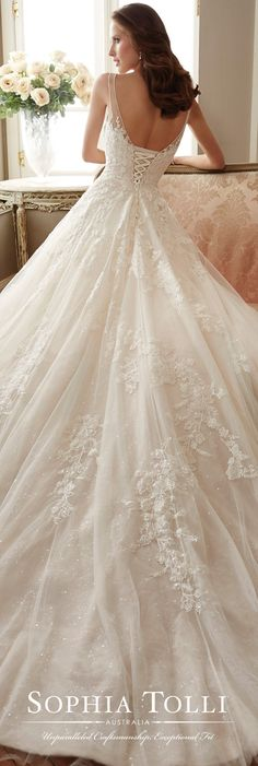 Sophia Tolli Spring 2017 Wedding Gown Collection - Style No. Y11719 Monte - sleeveless tulle and sequin lace A-line wedding dress