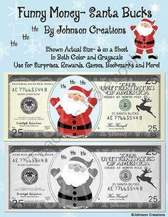 Johnsoncreations on teachersnotebook com 4 pages leave santa bucks