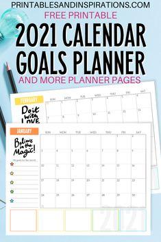 Free 2021 Monthly Goals Calendar Printable! - Printables and Inspirations Goal Calendar, Blank Calendar Pages, Kids Calendar, 2021 Calendar, Free Calender, December Calendar, Calendar Ideas, Calendar Design, Monthly Planner Printable