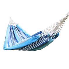 EDECO Cotton Fabric Tree Hanging Hammock Bed Canvas Style for Indoor  Outdoor Blue ** More info could be found at the image url-affiliate link. #OutdoorSwings