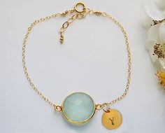 Personalized March Birthstone bracelet - Seafoam Aqua Chalcedony Vermeil Gold bezel set hand stamped initial bracelet - bridesmaid