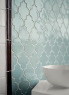 aqua bathroom tiles black white marble moroccan inspired. I'd love to use quatrefoils in our decorating. They were part of our wedding design, but this seems like a lot of grout: the antithesis of easy to clean.
