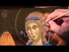 - Icon of an Angel hair - Illuminations Painting Process, Process Art, Painting Videos, Painting & Drawing, Byzantine Icons, Byzantine Art, Religious Icons, Religious Art, Paint Icon