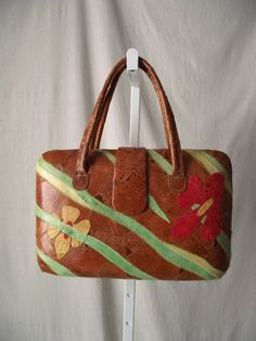 30% OFF - On SALE 11/29 11 AM CST.  Vintage Leather Purse with Bold Tropical by StilettoGirlVintage, $75.00