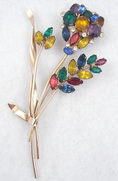 Corocraft Sterling Floral Brooch - Garden Party Collection Vintage Jewelry
