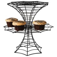 halloween steel wire 2 tiered cupcake stand blackopens in a new window - Halloween Cupcake Holder