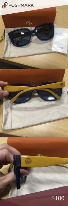 Tory Burch Sunglasses Blue and Yellow Tory Burch Sunglasses. I have them on in my profile picture. Great pair of fun colorful Tory Sunglasses. Great fit. Like new condition. Worn a few times but I prefer polarized glasses so selling to get something new. No vision imparting scratches dings or impairments. Orange case storage bag and Luxottica (manufacturer) insert included. Tory Burch Accessories Sunglasses