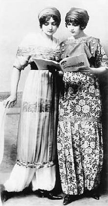 Poiret harem pants in chiffon and sultana skirts with flower details, 1911. Both is wearing turbans. (inspired by Ballets Russes)