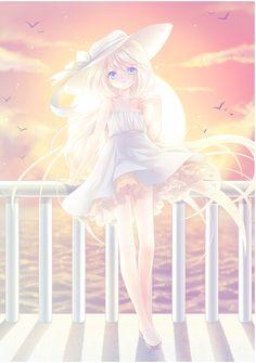 ✮ ANIME ART ✮ summer time. . .summer dress. . .lace. . .blowing in the breeze. . .sun hat. . .ribbon. . .long hair. . .sunset. . .sun. . .clouds. . .ocean. . .birds. . .cute. . .kawaii