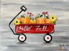 Pumpkin Wagon Acrylic Painting Tutorial Acrylic Painting For Beginners, Simple Acrylic Paintings, Acrylic Painting Tutorials, Step By Step Painting, Beginner Painting, Canvas Painting Designs, Fall Canvas Painting, Wine Painting, Canvas Paintings
