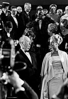 Alfred Hitchcock and Tippi Hedren in Cannes to promote 'The Birds', 1963.