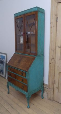 Walnut bureau bookcase writing desk with 3 drawers and glazed doors hand painted Annie Sloan Chalk Paint Provence