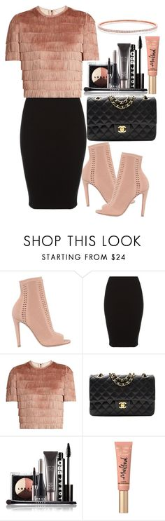 """""""Untitled#1555"""" by mihai-theodora ❤ liked on Polyvore featuring Gianvito Rossi, Raey, Chanel, LORAC and Too Faced Cosmetics"""