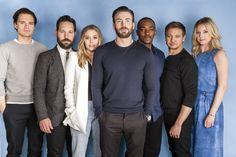Sebastian Stan, Paul Rudd, Elizabeth Olsen, Chris Evans, Anthony Mackie, Jeremy Renner and Emily VanCamp, Team Cap