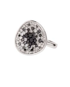Black & white diamond ring from the Black Galaxy Collection. By Pleve.