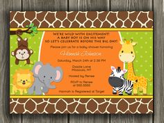 Jungle Baby Shower Invitation  FREE thank you by DazzleExpressions, $12.00