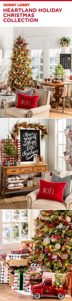Red, green, and little rustic touches. That's what you'll find in the Heartland Holiday Christmas Collection from Hobby Lobby®. Red, green, and little rustic touches. That's what you'll find in the Heartland Holiday Christmas Collection from Hobby Lobby®. 25 Days Of Christmas, Christmas Home, White Christmas, Merry Christmas, Christmas Ideas, Xmas, Christmas Decorations, Table Decorations, Holiday Decor