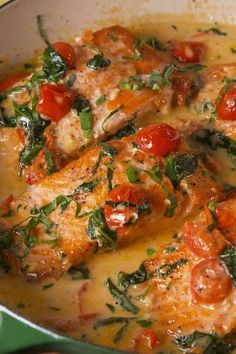 Tuscan Butter Salmon Vertical Added shrimp, cup half/half, and . - Tuscan Butter Salmon Vertical Added shrimp, cup half/half, and used frozen spinach - Salmon Dishes, Fish Dishes, Seafood Dishes, Seafood Recipes, Diet Recipes, Cooking Recipes, Healthy Recipes, Salmon Food, Keto Salmon
