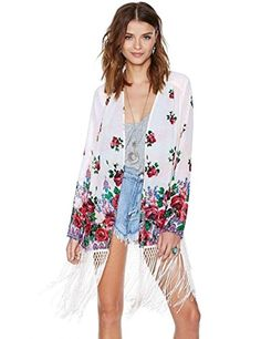 Losorn Women Rosy Tassels Boho Kimono Home Cardigan Jacket Small >>> Continue to the product at the image link.  This link participates in Amazon Service LLC Associates Program, a program designed to let participant earn advertising fees by advertising and linking to Amazon.com.