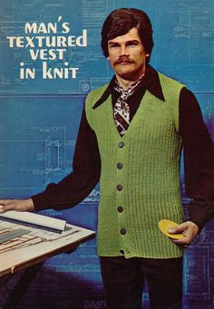 "Super Seventies — mangodebango:   ""Men's Textured Vest in Knit""..."