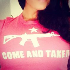 """Andrea Tantaros 2A shirt... The Fox News star posted a picture of herself wearing a pink T-shirt featuring the silhouette of the hugely popular AR-15 rifle along with the defiant phrase well-known to Second Amendment supporters: """"Come and Take It."""""""