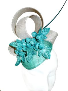 Vintage turquoise berry trimmed cocktail hat by www.fifilabelle.com