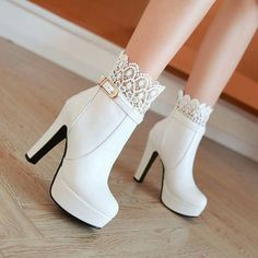 Cheap white booties, Buy Quality fashion booties directly from China ankle boots high heels Suppliers: Women Ankle Boots High Heels Boots Platform Shoes womens Fashion Lace Buckle Thin Heel Boots Womens Spring Autumn White Booties Pretty Shoes, Beautiful Shoes, Cute Shoes, Women's Shoes, Me Too Shoes, Shoe Boots, Platform Shoes, Ankle Boots, Cute High Heels
