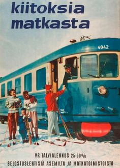 'Thank you for the ride', commercials for the annual winter sale of journeys by the Finnish national railway company in the Train Posters, Railway Posters, Lappland, Poster Ads, Poster Prints, Vintage Advertisements, Vintage Ads, Vintage Ski Posters, Vintage Banner